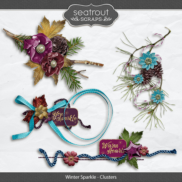 Winter Sparkle Clusters Digital Art - Digital Scrapbooking Kits