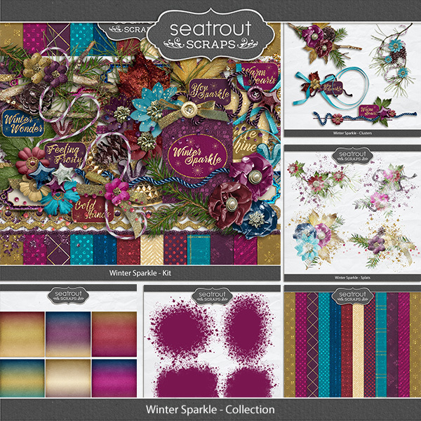 Winter Sparkle Collection Digital Art - Digital Scrapbooking Kits