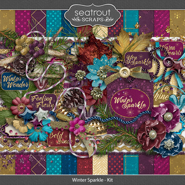 Winter Sparkle Kit Digital Art - Digital Scrapbooking Kits