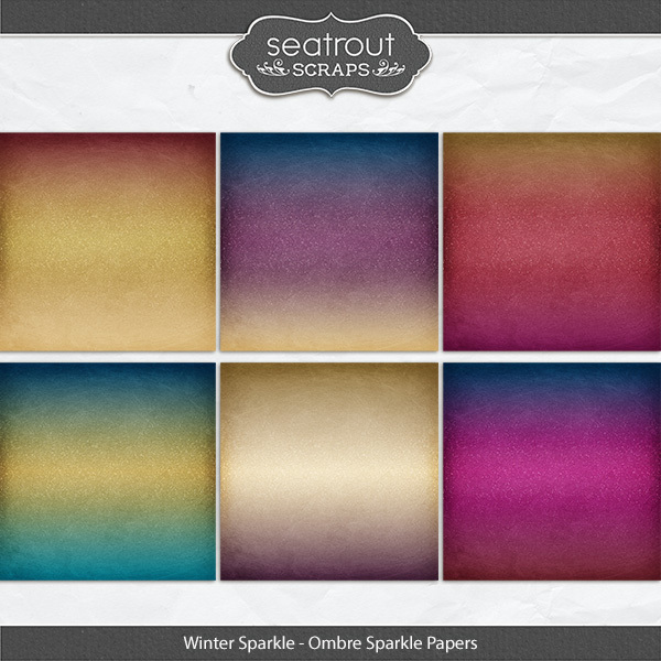 Winter Sparkle Ombre Sparkle Papers Digital Art - Digital Scrapbooking Kits