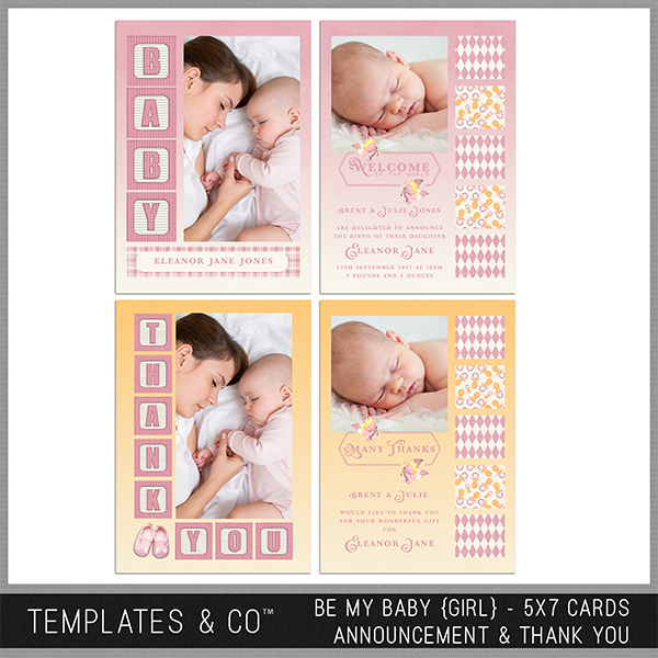Be My Baby (girl) 5x7 Cards Announcement And Thank You Digital Art - Digital Scrapbooking Kits