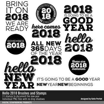 Hello 2018 Brushes And Stamps Digital Art - Digital Scrapbooking Kits