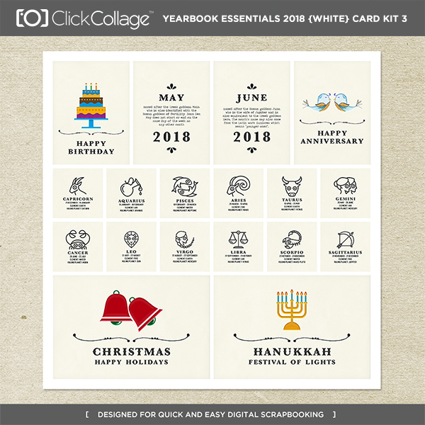 Yearbook Essentials 2018 (white) Card Kit 3 Digital Art - Digital Scrapbooking Kits