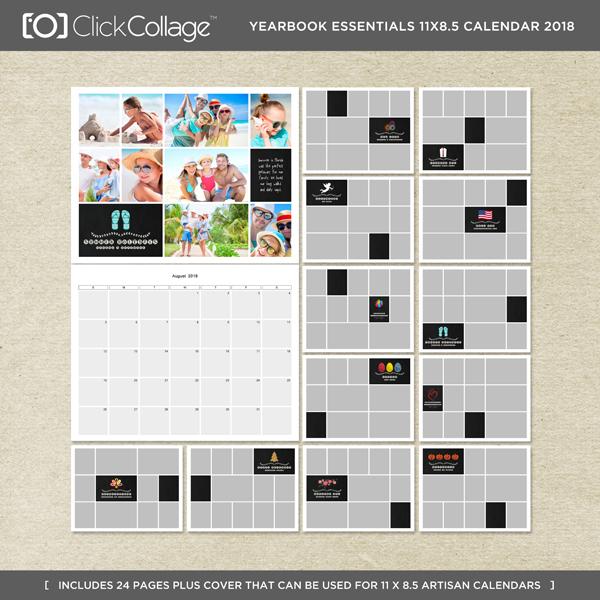 Yearbook Essentials 8.5x11 Calendar 2018 Digital Art - Digital Scrapbooking Kits