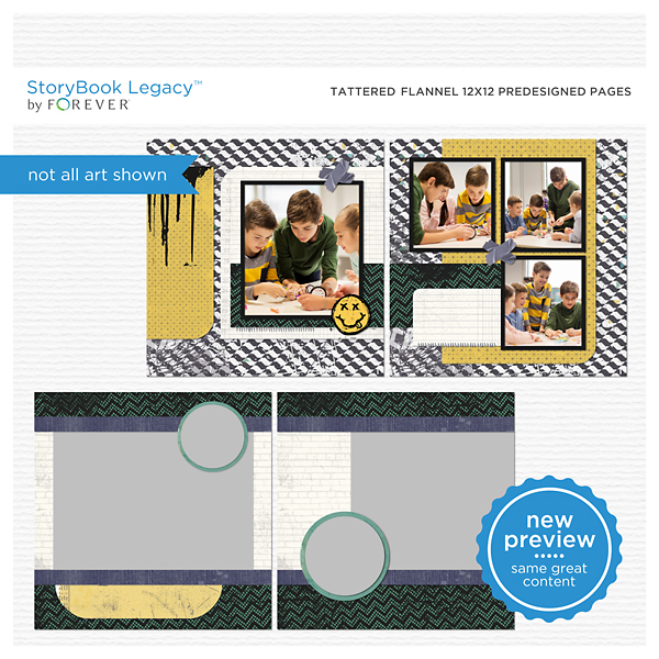 Tattered Flannel 12x12 Predesigned Pages Digital Art - Digital Scrapbooking Kits