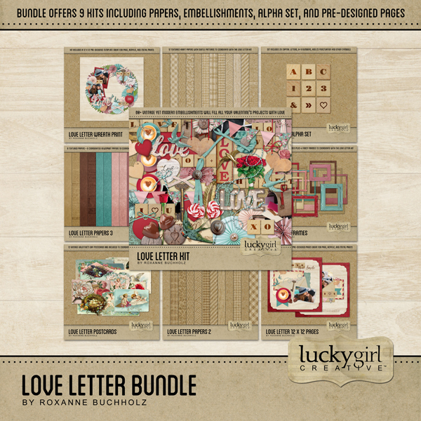 Love Letter Bundle Digital Art - Digital Scrapbooking Kits