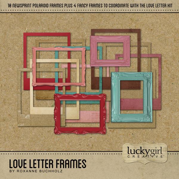 Love Letter Frames Digital Art - Digital Scrapbooking Kits