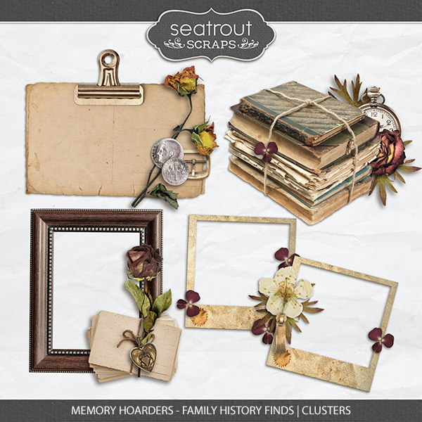 Memory Hoarders - Family History Finds Clusters Digital Art - Digital Scrapbooking Kits