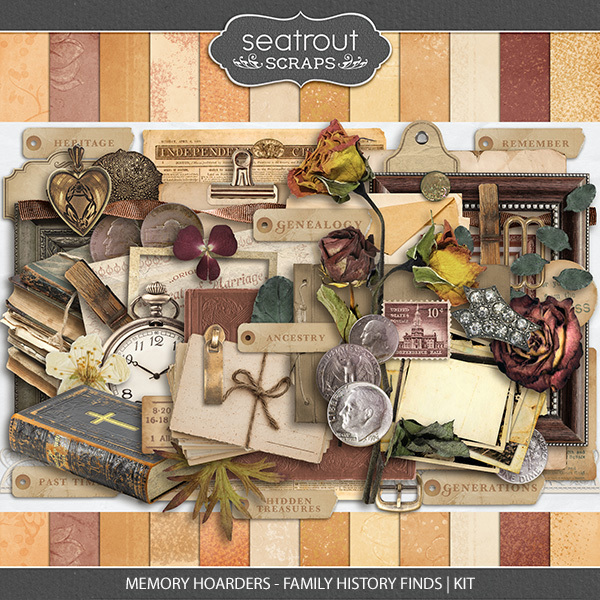 Memory Hoarders - Family History Finds Kit Digital Art - Digital Scrapbooking Kits