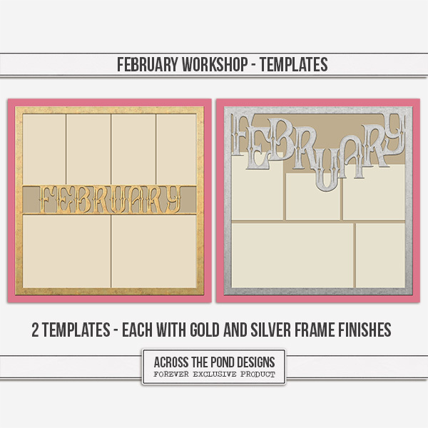February Workshop - Templates Digital Art - Digital Scrapbooking Kits
