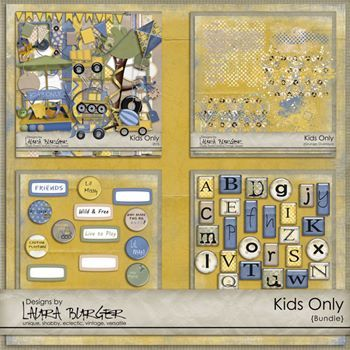 Kids Only Bundle Digital Art - Digital Scrapbooking Kits