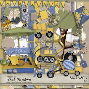Kids Only Scrap Kit Digital Art - Digital Scrapbooking Kits