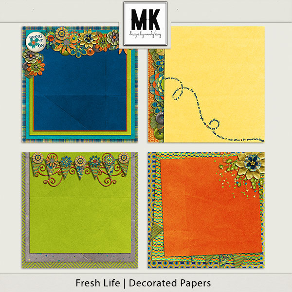 Fresh Life - Decorated Papers Digital Art - Digital Scrapbooking Kits