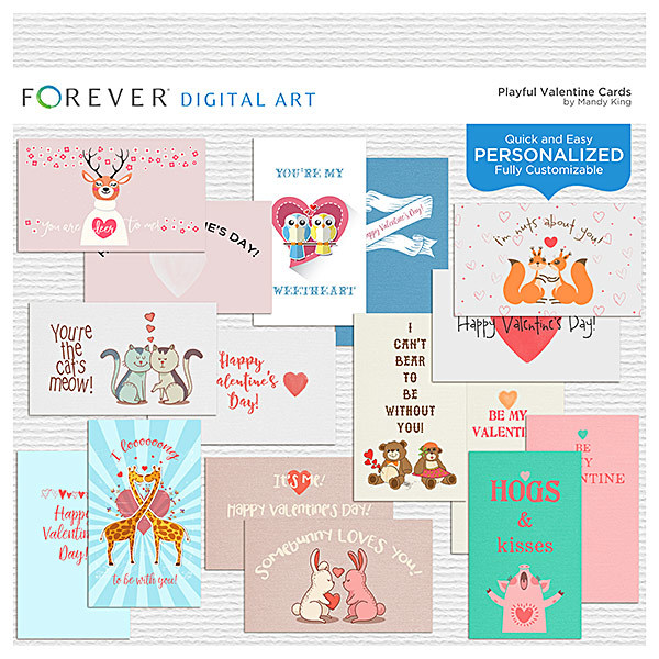 Playful Valentine Cards Digital Art - Digital Scrapbooking Kits