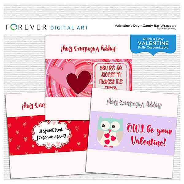 Valentine's Day Candy Bar Wrappers Digital Art - Digital Scrapbooking Kits