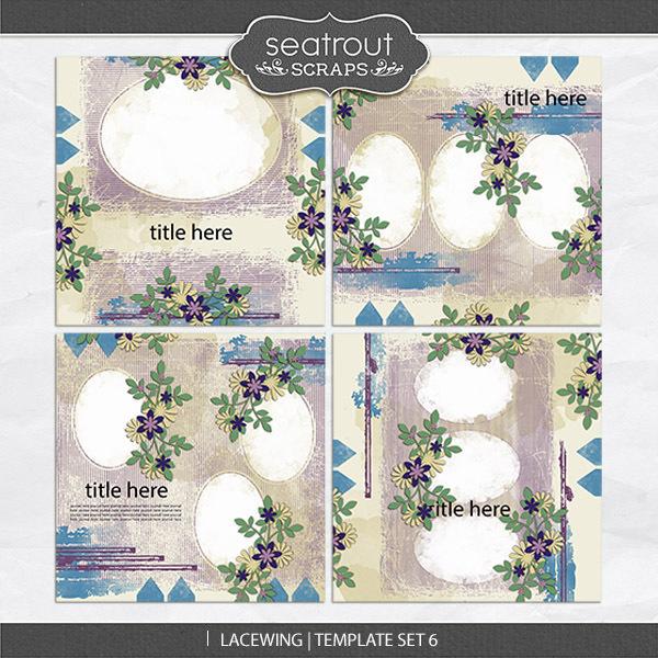 Lacewing Template Set 6 Digital Art - Digital Scrapbooking Kits