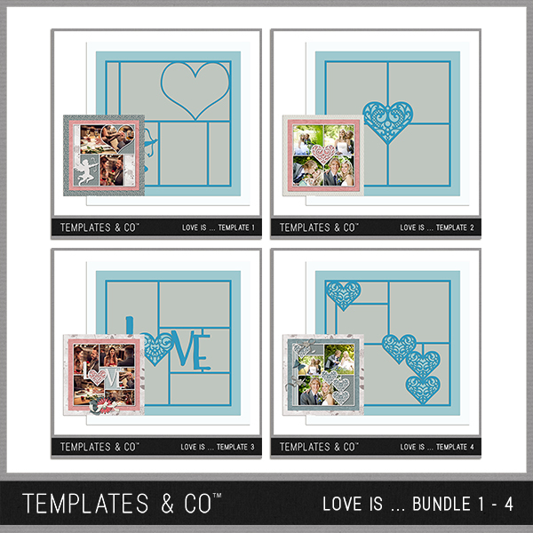 Love Is ... Bundle 1 - 4 Digital Art - Digital Scrapbooking Kits