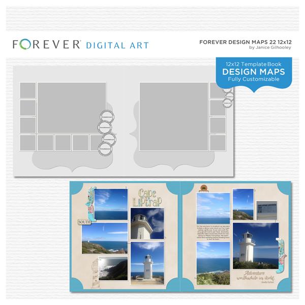 Forever Design Maps 22 12x12 Digital Art - Digital Scrapbooking Kits