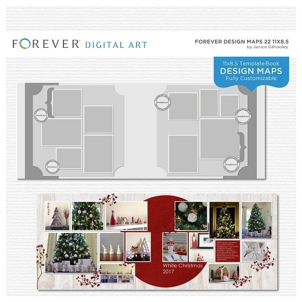 Forever Design Maps 22 11x8.5 Digital Art - Digital Scrapbooking Kits