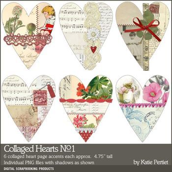 Collaged Hearts No. 01