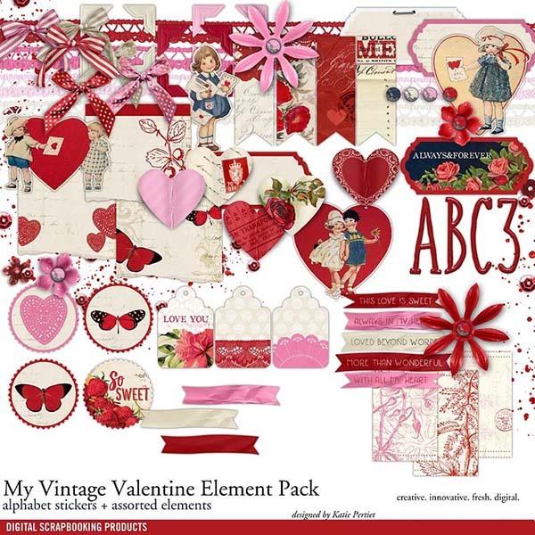 My Vintage Valentine Element Pack