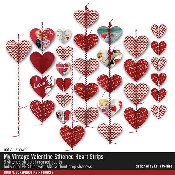 My Vintage Valentine Stitched Heart Strips