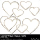 Stacked Vintage Photo Frames Hearts