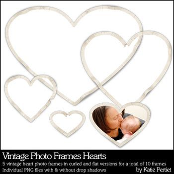 Vintage Photo Frames Hearts
