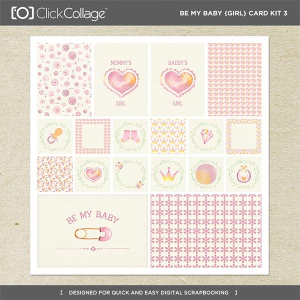 Be My Baby Girl Card Kit 3 Digital Art - Digital Scrapbooking Kits
