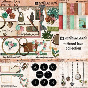 Tattered Love Collection Digital Art - Digital Scrapbooking Kits