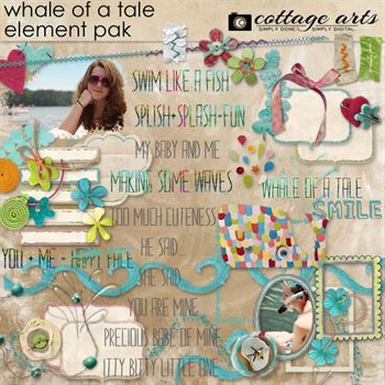 Whale Of A Tale Element Pak Digital Art - Digital Scrapbooking Kits