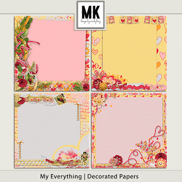 My Everything - Decorated Papers Digital Art - Digital Scrapbooking Kits