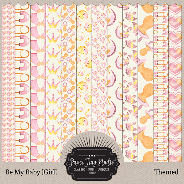 Be My Baby Girl - Themed Papers Digital Art - Digital Scrapbooking Kits