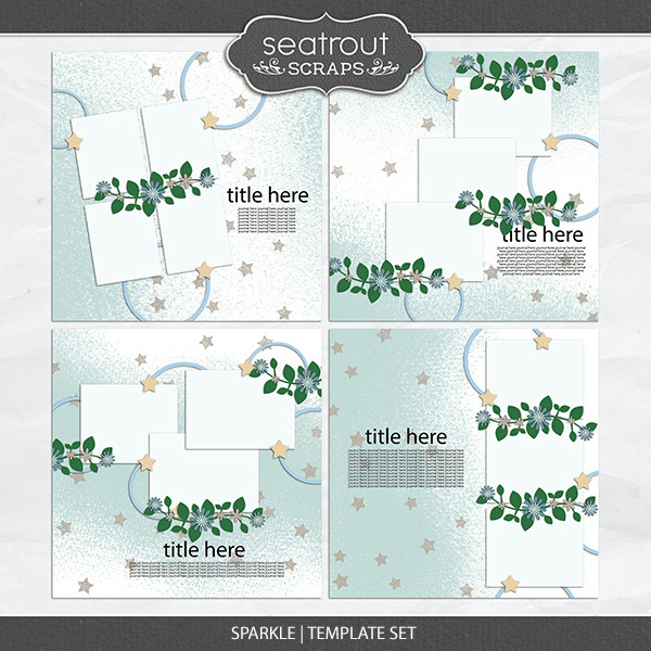 Sparkle Template Set 1 Digital Art - Digital Scrapbooking Kits