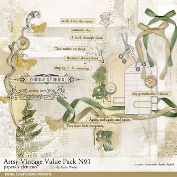 Artsy Vintage Value Pack No. 01 Digital Art - Digital Scrapbooking Kits