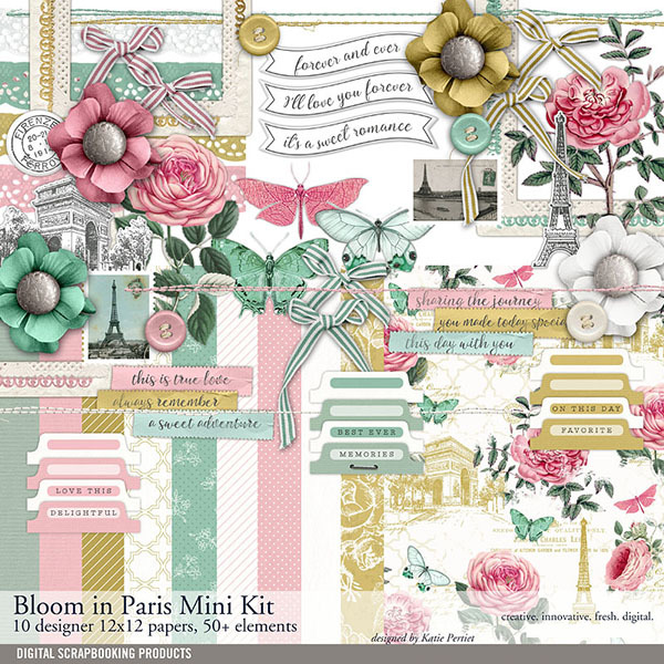 Bloom In Paris Scrapbook Mini Kit