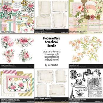 Bloom In Paris Scrapbooking Bundle Digital Art - Digital Scrapbooking Kits