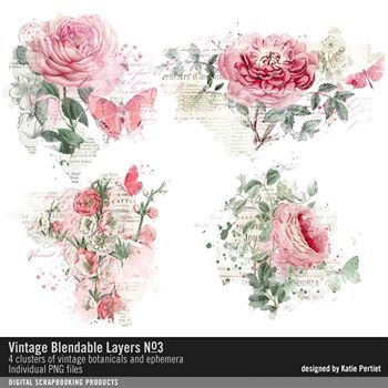 Vintage Blendable Layers No. 03 Digital Art - Digital Scrapbooking Kits