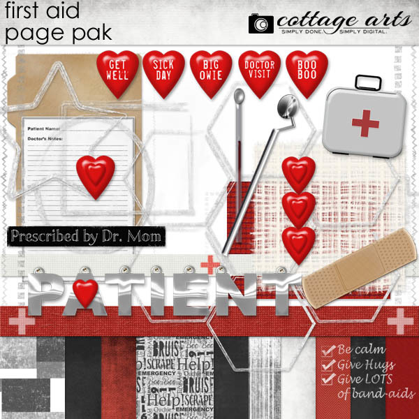 First Aid Page Pak Digital Art - Digital Scrapbooking Kits
