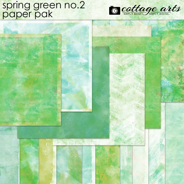 Spring Green 2 Paper Pak Digital Art - Digital Scrapbooking Kits