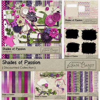 Shades Of Passion Discount Collection Digital Art - Digital Scrapbooking Kits