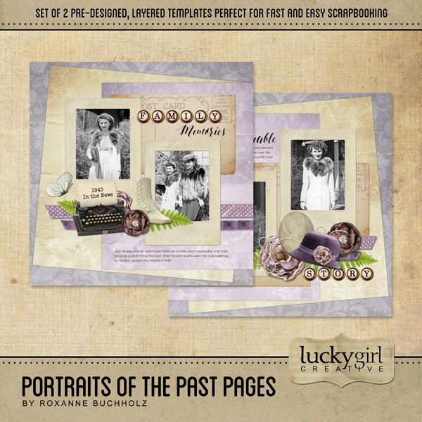 Portraits Of The Past Pages Digital Art - Digital Scrapbooking Kits
