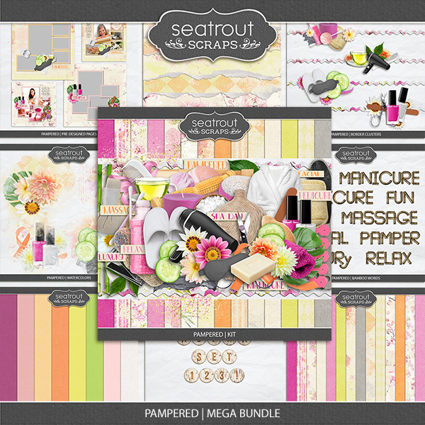 Pampered Mega Bundle Digital Art - Digital Scrapbooking Kits