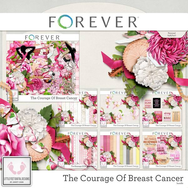The Courage Of Breast Cancer Bundle Digital Art - Digital Scrapbooking Kits