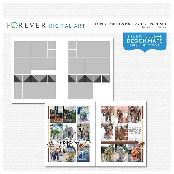 Forever Design Maps 23 8.5x11 Portrait Digital Art - Digital Scrapbooking Kits