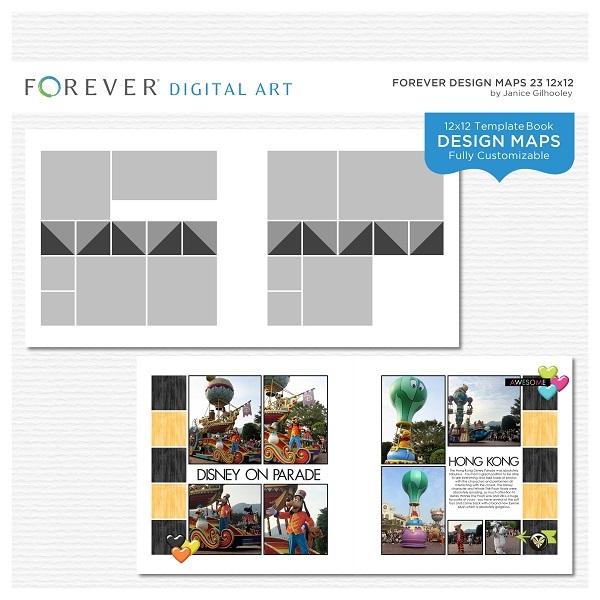 Forever Design Maps 23 12x12 Digital Art - Digital Scrapbooking Kits