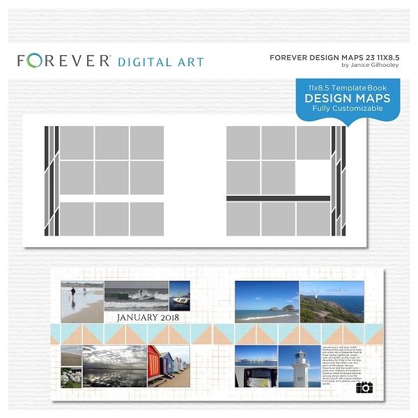 Forever Design Maps 23 11x8.5 Digital Art - Digital Scrapbooking Kits