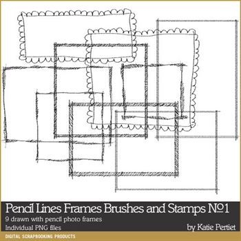 Pencil Lines Frames Brushes And Stamps