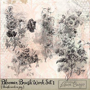 Bloomer Brushes Set 1 Digital Art - Digital Scrapbooking Kits
