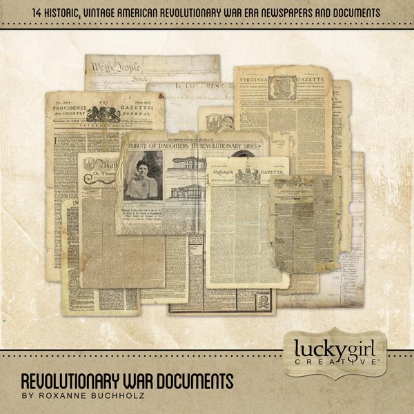 Revolutionary War Documents Digital Art - Digital Scrapbooking Kits